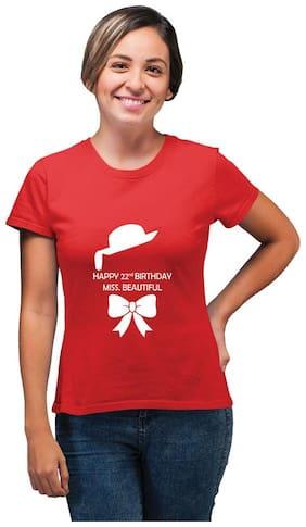 Ritzees Women Printed Round neck T shirt - Red