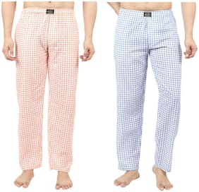 RIVER HILL Men Cotton Checked Pyjama - Blue & Orange