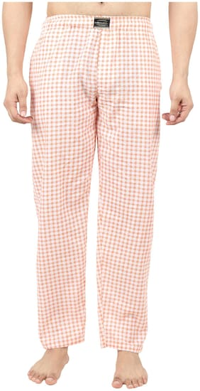 RIVER HILL Men Cotton Checked Pyjama - Orange