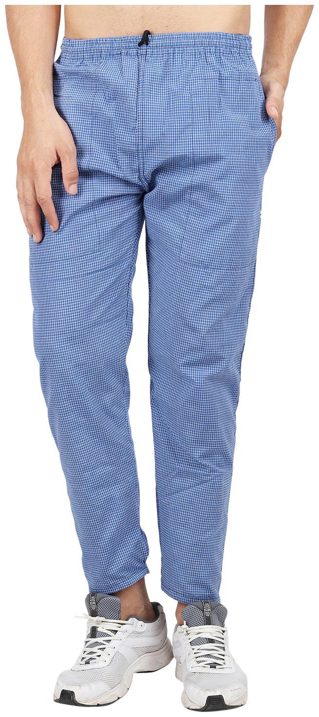 RIVER HILL Men Cotton Checked Pyjama - Blue