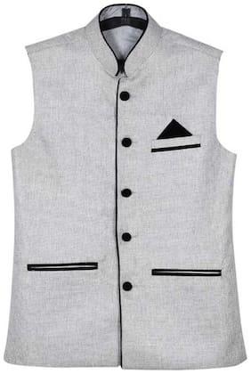 River Hill Men's Silver  Nehru Jacket - Waistcoat