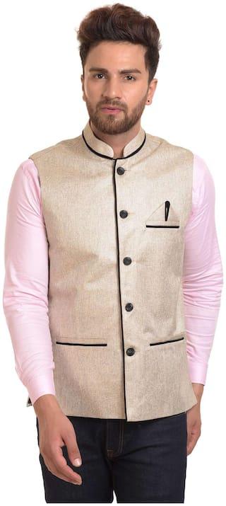 River Hill Men's Gold Nehru Jacket - Waistcoat