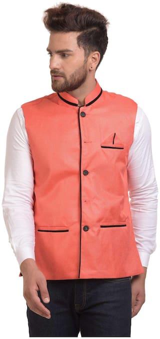 River Hill Men's Orange Nehru Jacket - Waistcoat