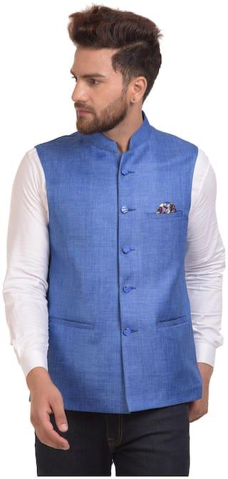 RIVER HILL Men Cotton blend Regular fit Waistcoat - Blue