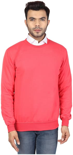 River Hill Solid Round Neck Casual Men Sweater Pink