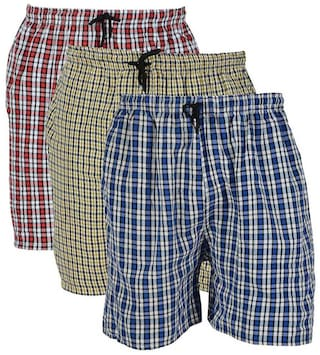 RIVER HILL Men Cotton Shorts Multi color-Pack of 3