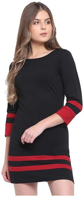 RIVI Black Solid Bodycon dress