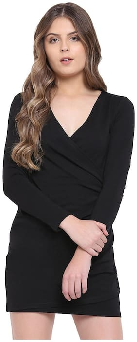 RIVI Black Solid Bodycon dress