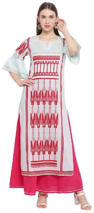 RIVI Women Blue Printed Regular Kurta With Skirt