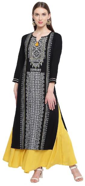RIVI Women Black Printed Regular Kurta With Sharara