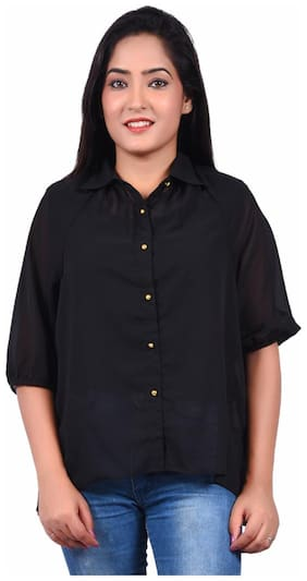 RIVI Women Black Solid Regular Fit Shirt