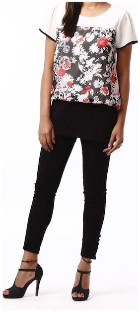 RIVI Designer White Polyester Half Sleeves Body Blouse Women's Top (RV007)