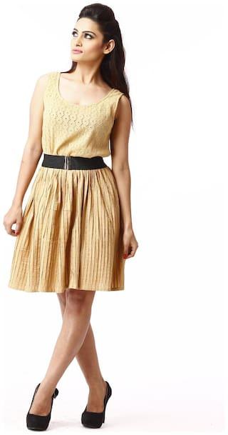 RIVI Beige Solid A-line dress