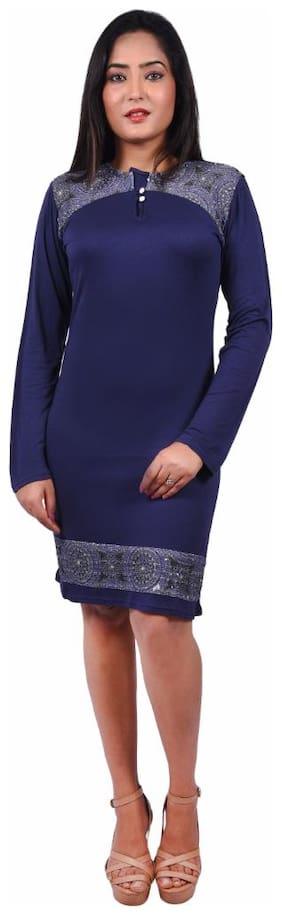 RIVI Blue Solid A-line dress