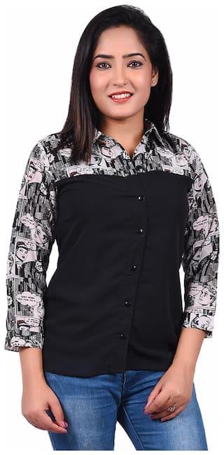 RIVI Women Black Solid Regular Fit Shirt