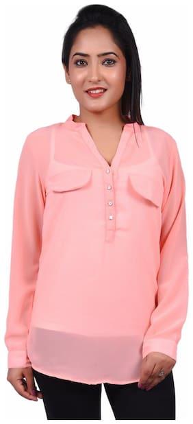 RIVI Designer Pink Polyester Full Sleevess Button Down Women's Top (RV026)