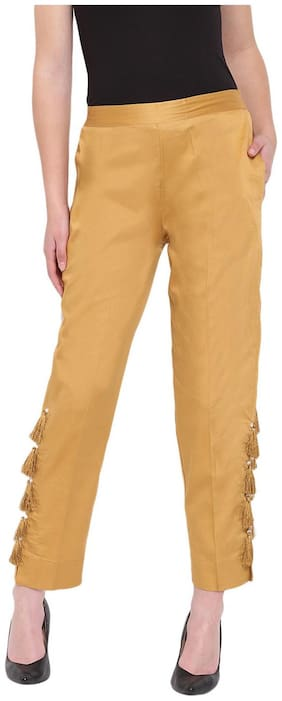 RIVI Women Yellow Regular fit Regular trousers