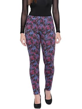 RIVI Lycra Printed Blue & Grey Color Jegging For Women