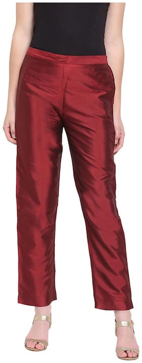 RIVI Women Maroon Regular fit Regular trousers