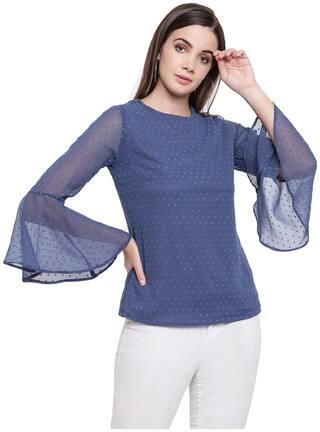 RIVI Women Embroidered Regular top - Blue