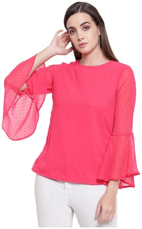 RIVI Women Embroidered Regular top - Pink