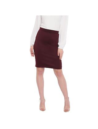 RIVI Solid Bodycon skirt Midi Skirt - Wine