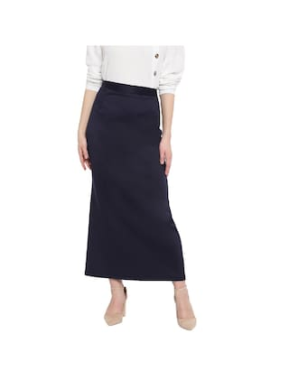 RIVI Polyester Solid Navy Blue Color Maxi Straight Skirt For Women