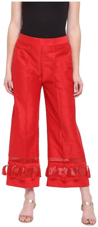 RIVI Red Womens Silk Stripe Tassles Flare Palazzo Trouser
