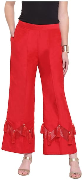 RIVI Red Womens Zig Zag Silk Stripe Palazzo Trouser