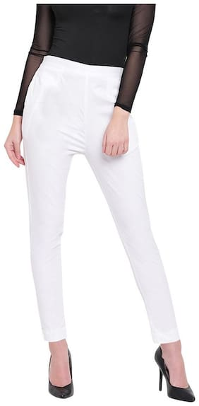 RIVI Women White Slim fit Regular trousers