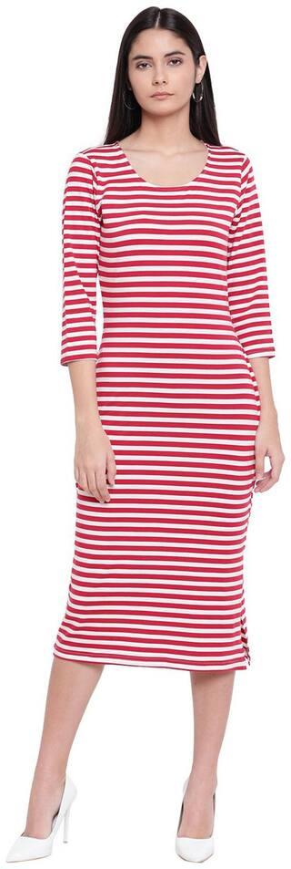 RIVI White & Red Striped Sheath dress