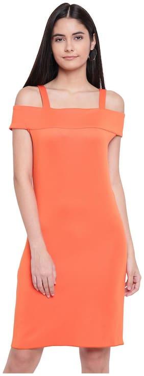 RIVI Orange Solid Fit & flare dress
