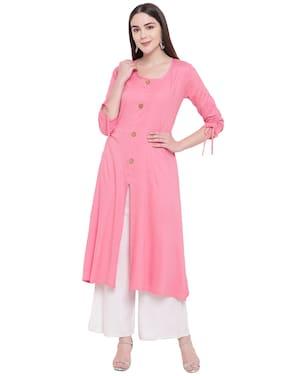 RIVI Women Pink Solid Regular Kurta