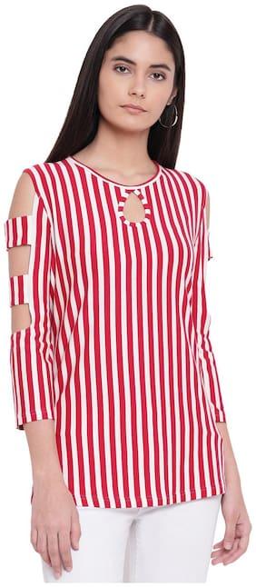 RIVI Women Striped A-line top - White & Red