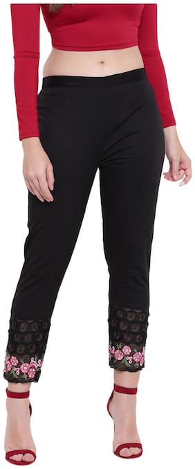 RIVI Women Black Regular fit Regular trousers