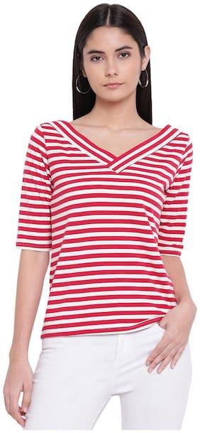 RIVI Women Striped Regular top - White & Red