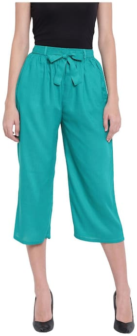 RIVI Women Turquoise Regular fit Regular trousers