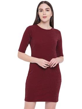 RIVI Wine Solid Sheath dress