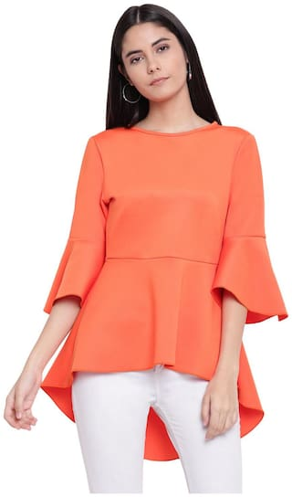 RIVI Women Solid Peplum top - Orange