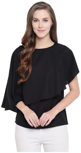 RIVI Women Solid Regular top - Black