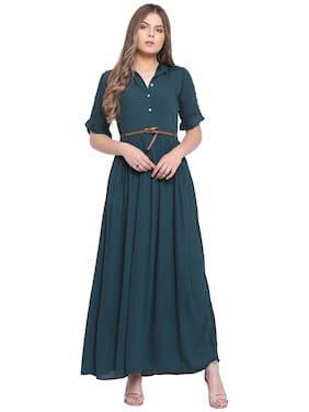 RIVI Green Solid Bodycon dress
