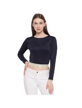 Rivi Women's Knitted Long Sleeves Regular Top (Navy Blue)