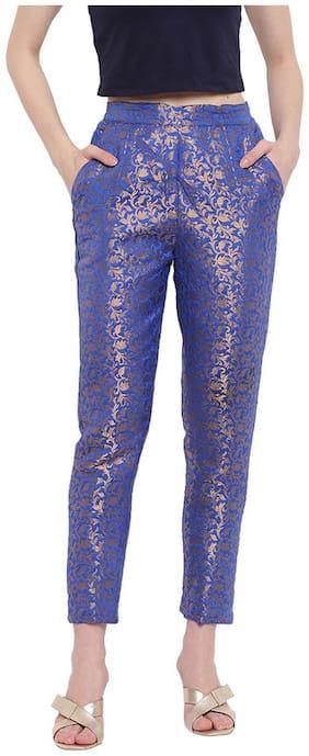 Rivi Women'S Regular Fit Brocade Blue Banarasi Trousers