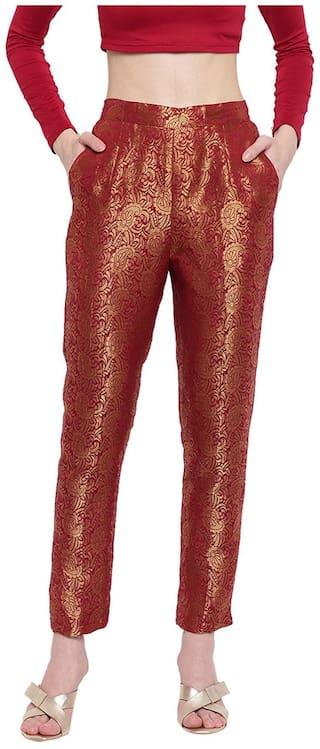 Rivi Women'S Regular Fit Brocade Maroon Banarasi Trousers
