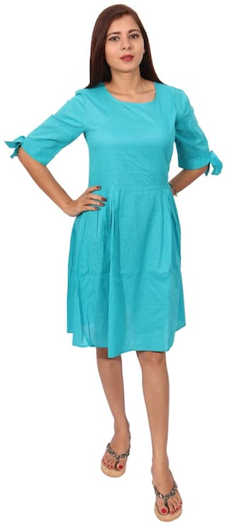RIVI Blue Dyed Fit & flare dress