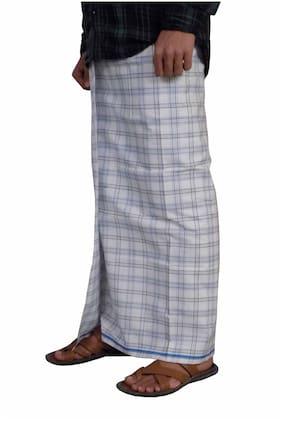 Men Cotton Checked Dhoti