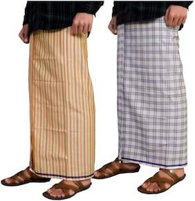 Riyashree Cotton Checked Regular dhoti Dhoti - Multi