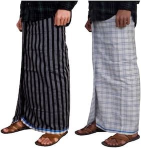 Riyashree Cotton Checked Regular dhoti Dhoti - Multi