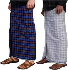 Men Cotton Checked Dhoti ,Pack Of 2