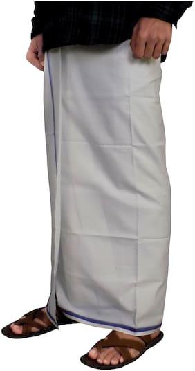 Riyashree Cotton Solid Regular dhoti Dhoti - White